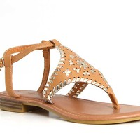 Pierre Dumas Rosetta Whip Stitch Sandals in Tan 21251-120