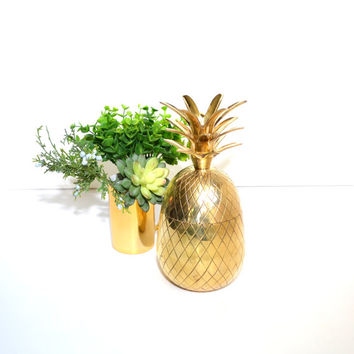 Vintage Brass Pineapple Brass Pineapple Candle Holder Brass Pineapple Box Pineapple Trinket Dish Gold Pineapple Ananas Pina