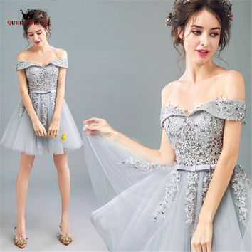 QUEEN BRIDAL 2018 New Fashion Gray Short Evening Dresses Cap Sleeve Tulle Lace Prom Party Dress Gown Robe De Soiree Elegant LS03