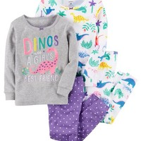 4-Piece Dinos Snug Fit Cotton PJs