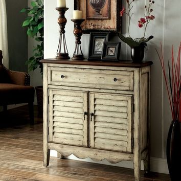 Hazen collection vintage style antique white and brown finish wood single drawer and cabinet hall console table