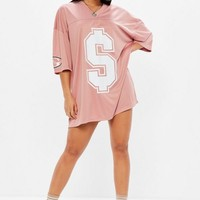 Missguided - Pink American Football T-Shirt Dress