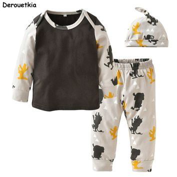 New 2018 Autumn Baby Boy and Girl Clothing Set Cotton Little Monster Newborn Baby Clothes Infant 3pcs Suit Toddler Outfits