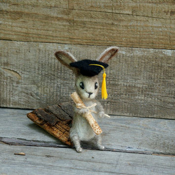 Graduation Bunny Felted rabbit Graduation present College Cute gift for graduate Back to school Felted Miniature animal Cute hare Doll house