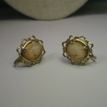 Vintage Gold Tone Cameo Earrings, Screw back, signed Coro, Mid-Century