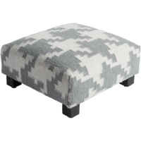 Martin Gray Houndstooth Upholstered Foot Stool