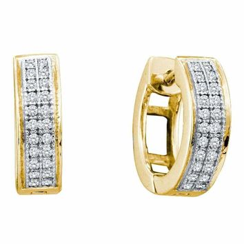10kt Yellow Gold Women's Round Diamond Double Row Hughie Hoop Earrings 1-6 Cttw - FREE Shipping (US/CAN)