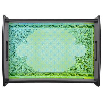 Emerald Elegance Serving Tray