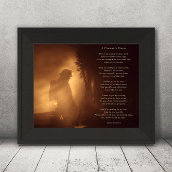 Firemans Prayer, firefighter gift, fire department poster, Firefighter Prayer Print, Firefighter wall art, Prayer Print, Inspirational word