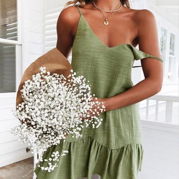 Fashion New Summer Solid Color Straps Dress Women Green