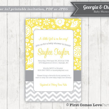 Printable Baby Shower Invitation ~ Georgia Chevron Design ~ Yellow and Gray ~ 4x6 or 5x7 Digital File ~ Modern ~ Baby girl ~ Choose Colors
