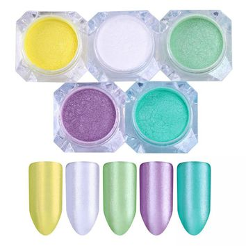 5 Boxes BORN PRETTY Shimmer Mermaid Glitter Powder Mirror Pearl Pigment Set Powder Paillettes Nail Art Dust UV Gel Polish