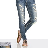 Silver Jeans ® Suki Destructed Crochet Skinny Ankle Jeans - Medium Sandblast