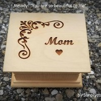 music box, wooden music box, music boxes, mom gift, gift for mom, mom music box, last minute gift, You are so beautiful to me, Xmas gift