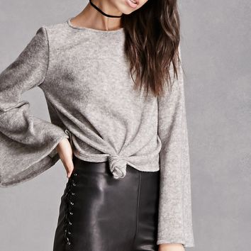 Bell-Sleeve Tie-Front Crop Top