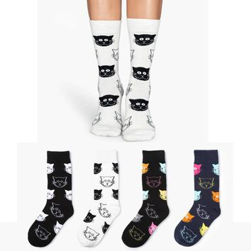 Cat Print Decoration Socks Funny Crazy Cool Novelty Cute Fun Funky Colorful