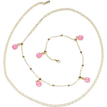 """38"""" Pretty Pink Spring Flower Bead Dangle Belly Chain"""