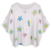White Star Print Batwing Sleeve Cropped T-shirt