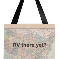 RV Tote Bag,  Cute camping tote, Colorful historic travel theme tote, everything bag, allover print, gift for mom, beach bag, travel bag