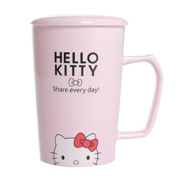 Japan Cartoon Ceramics Mugs Lovers Pokonyan Coffee Cup Lovely Office Milk Tinkling Cat Teacup With Lid Spoon 3D Hello Kitty Pink