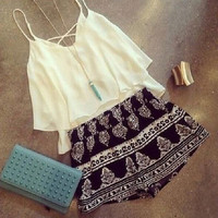 White Spaghetti Strap Chffon Tank Top with Printed Short
