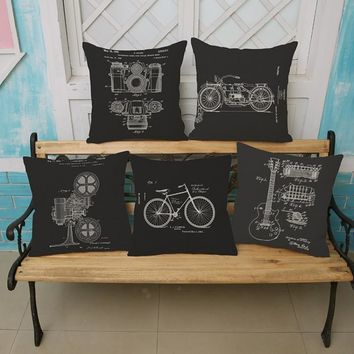 Vintage Black Guitar Home Decorative Cushion Cover Bicycle Camera Video Player Sofa Seat Car Outdoor Sitting Chair Pillow Case