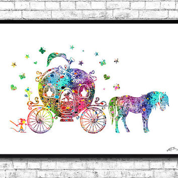 Cinderella Disney Princess Pumpkin Carriage, Disney Art, Disney Watercolor, Kid's Room, Wall Poster, Cinderella print, Disney Poster, Gift