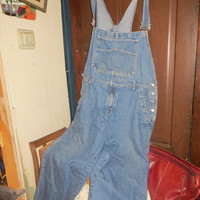 RETRO  VINTAGE bib Overalls Dungarees Light   Denim   Faded Glory  oversized 2 XL
