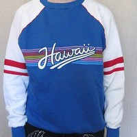 VTG Rare 80s HAWAII RAINBOW Unisex S-M Colorful Acrylic Cotton HIP SWEATSHIRT