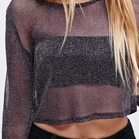 Urban Renewal Vintage Remnants Crystal Mesh Top in Purple - Urban Outfitters