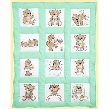 "Teddy Bears Jack Dempsey Stamped White Nursery Quilt Blocks 9""X9"" 12/Pkg"