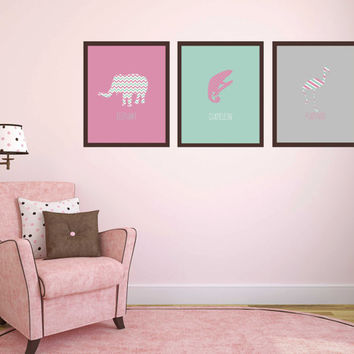 Nursery Wall Art ~ Animal Print Poster Kids Playroom Decor ~ Gift for New Mom Baby Shower Idea, Newborn Baby Girl Christening Print Present