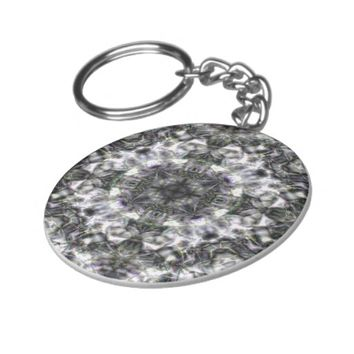 Silver Lace Basic Round Button Keychain