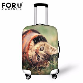 FORUDESIGNS 2018 Brand Luggage Protective Cover 3D Cat Animal Waterproof Suitcase Cover For 18 20 22 24 26 28 30 Inch Trunk Case