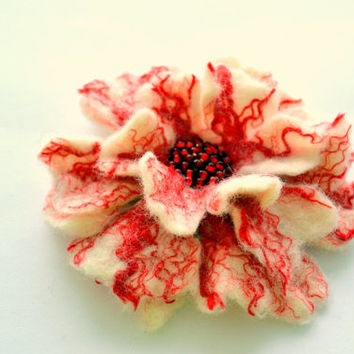 Wool Felt Flower Pin White and Red - Floral Winter Coat Accessory - Handmade Felted Christmas Brooch