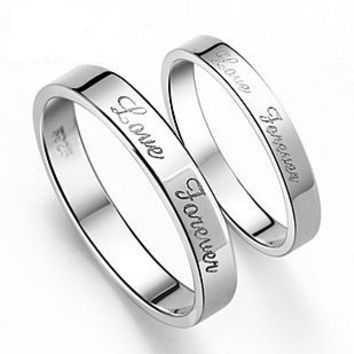 Silver Plated Platinum .925 Sterling Silver Couples Ring for Men's Jewelry-Size 9