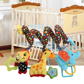 Baby Rattles Multicolor Baby IQ Development Early Learning Toy Monkey Elephant Bed Crib Hanging Plush Toys with Bell