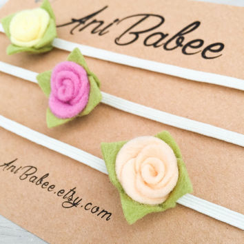 Peach Felt Flower Headband, Baby Headband Set, Pink Felt Flower Headband, Yellow Felt Flowers, Felt Flower Headband Set, Rose Bud Headbands