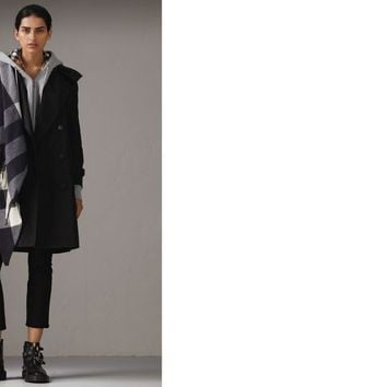 Detachable Hood Taffeta Trench Coat in Black - Women | Burberry United States