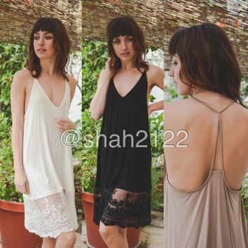 New lace slip dress tunic top extender midi tank black, mocha ivory S, M, L