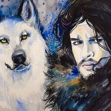 "Game of Thrones Jon Snow- watercolor painting print 8"" x 12"" Celebrity Portraits, Wolf, Air Force blue, Black, Cobalt"