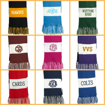 Monogram Game Day Scarf - Personalized Scarf - Tailgate - Marching Band - Cheer - Team Spirit - 9 Colors - Sports Scarf - Fringe Scarf