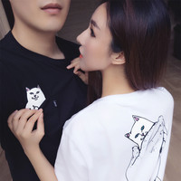 Hot RIPNDIP Men Women Unisex T-shirts skateboard pocket cat nermal T shirt Hip hop Brand Clothing Tops Harajuku Couple tees