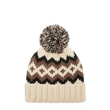 Chevron-Patterned Pom Beanie