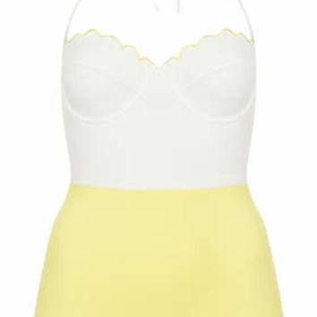 Yellow Scallop Swimsuit - Yellow