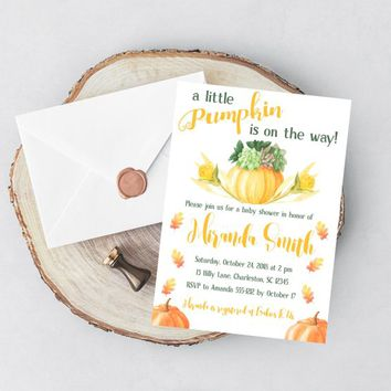 Fall Baby Shower Invitation - Autumn Baby Shower Invitation - Pumpkin Baby Shower Invitation - Gender Neutral Baby Shower Invitation