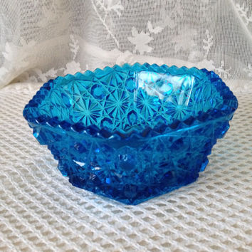 Aqua Teal Blue Glass Dish Daisy And Button Hexagonal, Sawtoothed Edge, L E Smith Glass Co, Candy, Nuts