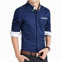jeansian Men's Casual Slim Long Sleeves Dress Shirts Tops MCF012 DarkBlue S