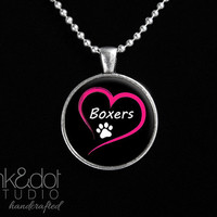 Love Boxers Glass Pendant Necklace Dog Lover Paw Print Dog Breed Jewelry