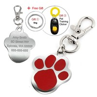 Cute Paw Personalized Pet Dog Cat ID Tags Free Custom Puppy Kitten Necklace Pendant Text Name & Phone No. With Free Clicker
